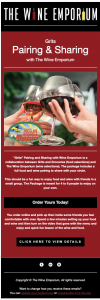 An example of Email Marketing from The Wine Emporium.